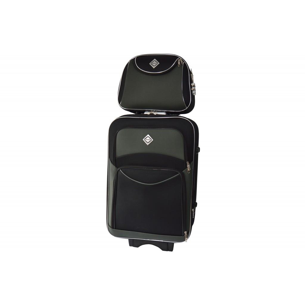 Комплект Чемодан + кейс Bonro Style (средний) чорно-сіра