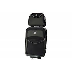 Комплект валіза + кейс Bonro Style (середня) чорно-сіра