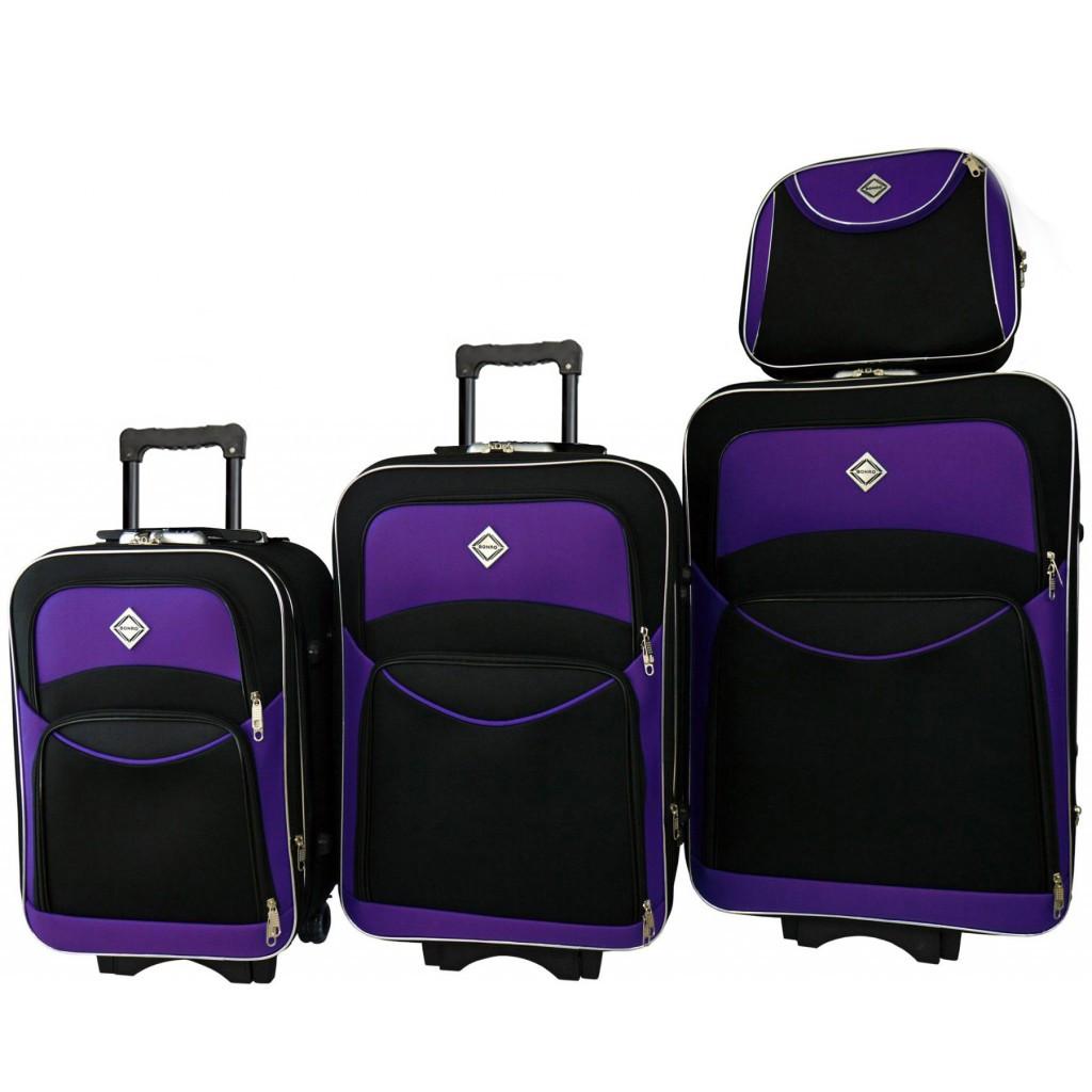 Набор чемоданов і кейс 4в1 Bonro Style чорно-т.фиолетовый