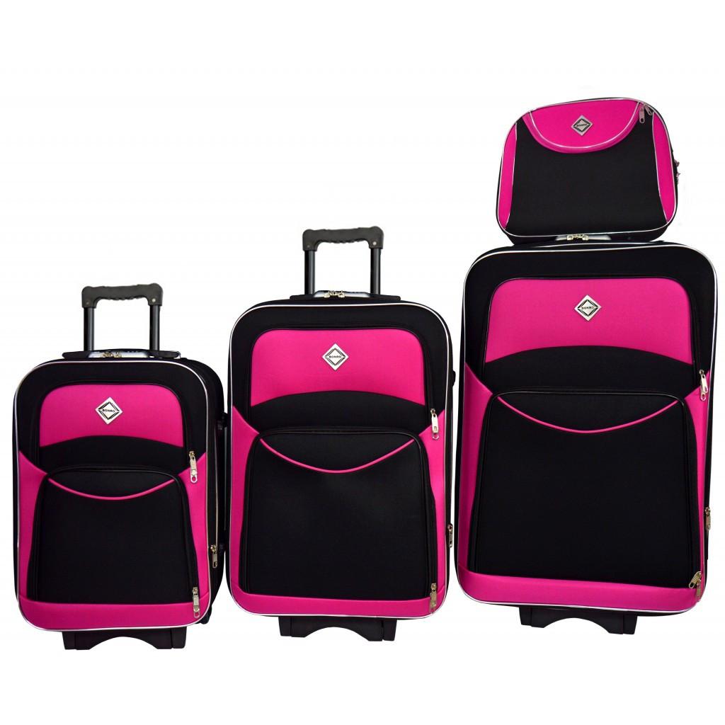Набор чемоданов і кейс 4в1 Bonro Style чорно-розовый