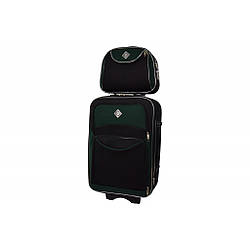 Комплект валіза + кейс Bonro Style (маленька) чорно-зелена