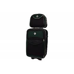 Комплект Валіза + кейс Bonro Style (середній) чорно-зелений