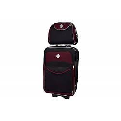 Комплект чемодан + кейс Bonro Style (маленькая) черно-вишневая