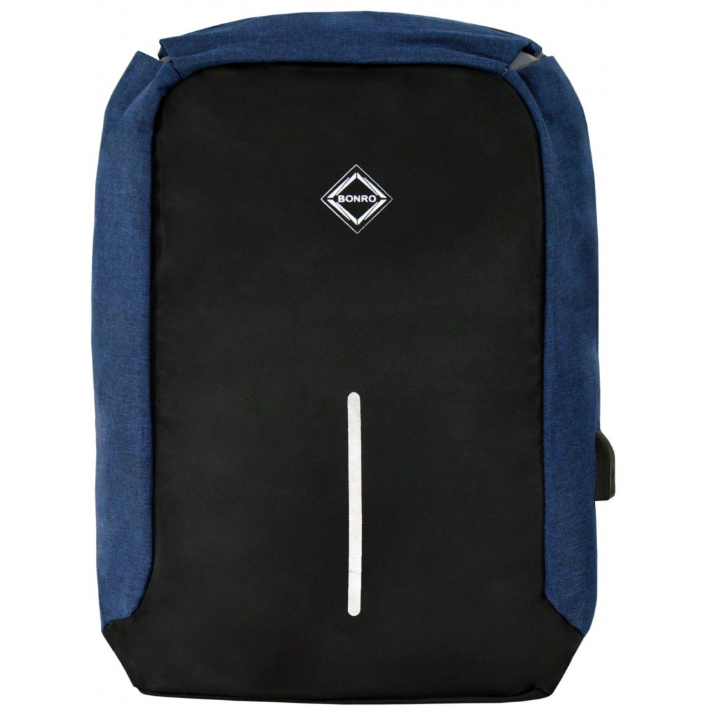 Рюкзак антизлодій Bonro з USB 17 л синий