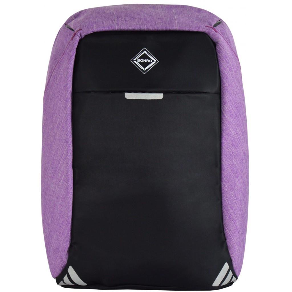 Рюкзак антизлодій Bonro з USB 20 л фиолетовый