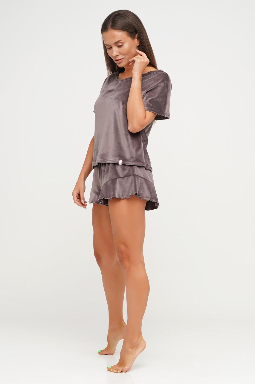 Велюровая женская пижама кофта и шорты