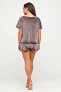 Велюровая женская пижама кофта и шорты, фото 2