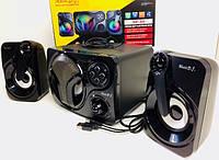 Стереоколонкі комп'ютерні для ПК SP-60 LED 2in1 USB, 3W, 50-20000Гц, 70дБ, пластик, колонки для комп'ютера,
