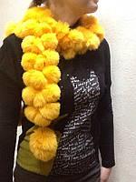 Шарф меховой песец желтый