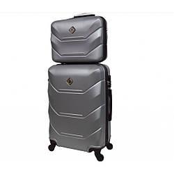 Комплект чемодан + кейс Bonro 2019 (небольшой) серебряный