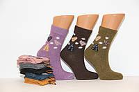 Женские носки шерстяные средние с принтом КОРОНА 37-42 ассорти клевер