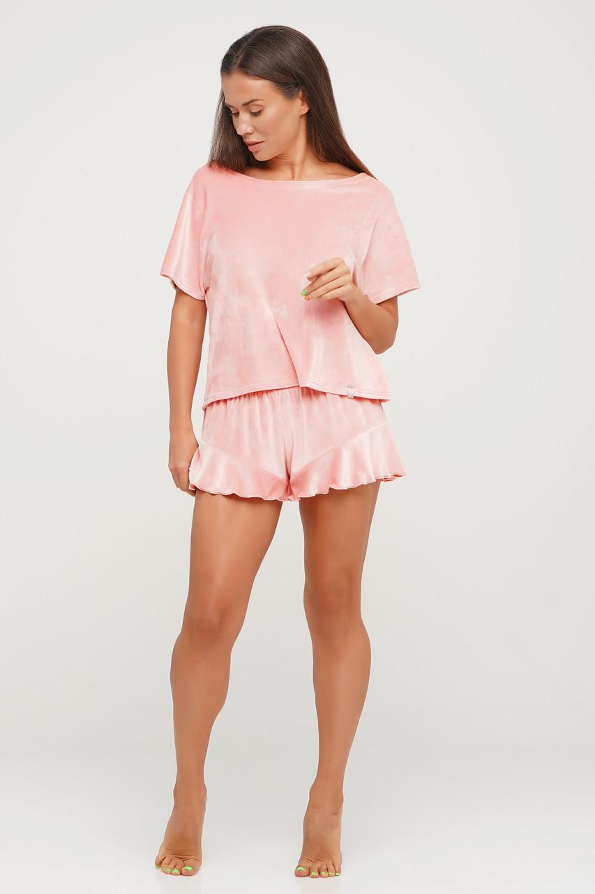 Персиковая велюровая пижама