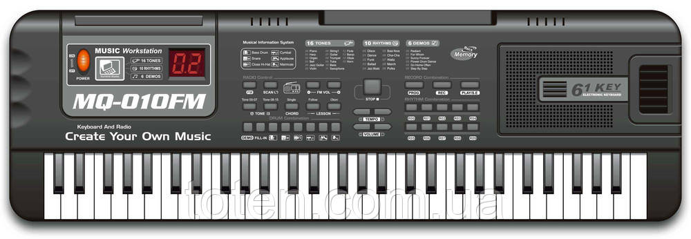 Детский синтезатор пианино 61 клавиша (5 октав) с микрофоном, с радио, от сети и батар MQ-010 FM