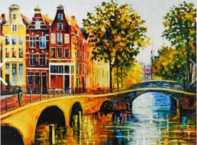 "GB70158 Алмазная мозаика по номерам 30*40 ""Улочка Амстердама"" карт уп. (холст на раме)"