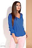 Легкая женская блуза на завязках цвета синий электрик, фото 4