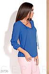 Легкая женская блуза на завязках цвета синий электрик, фото 5