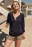 Легкая женская блуза на завязках темно-синего цвета, фото 5