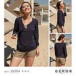 Легкая женская блуза на завязках темно-синего цвета, фото 8