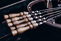 Шампур плоский, с деревянной ручкой из нержавеющей стали 750*3*12 мм,комплект из 10 шт в чехле (колчан)
