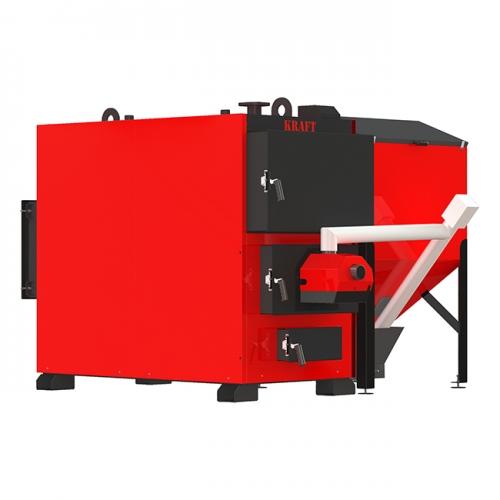 Пеллетный промышленный котел Kraft Prom F 400 кВт с факельной горелкой и жаротрубным теплообменником