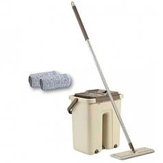 Швабра с ведром и автоматическим отжимом HLV Scratch Cleaning Mop 00081 Beige