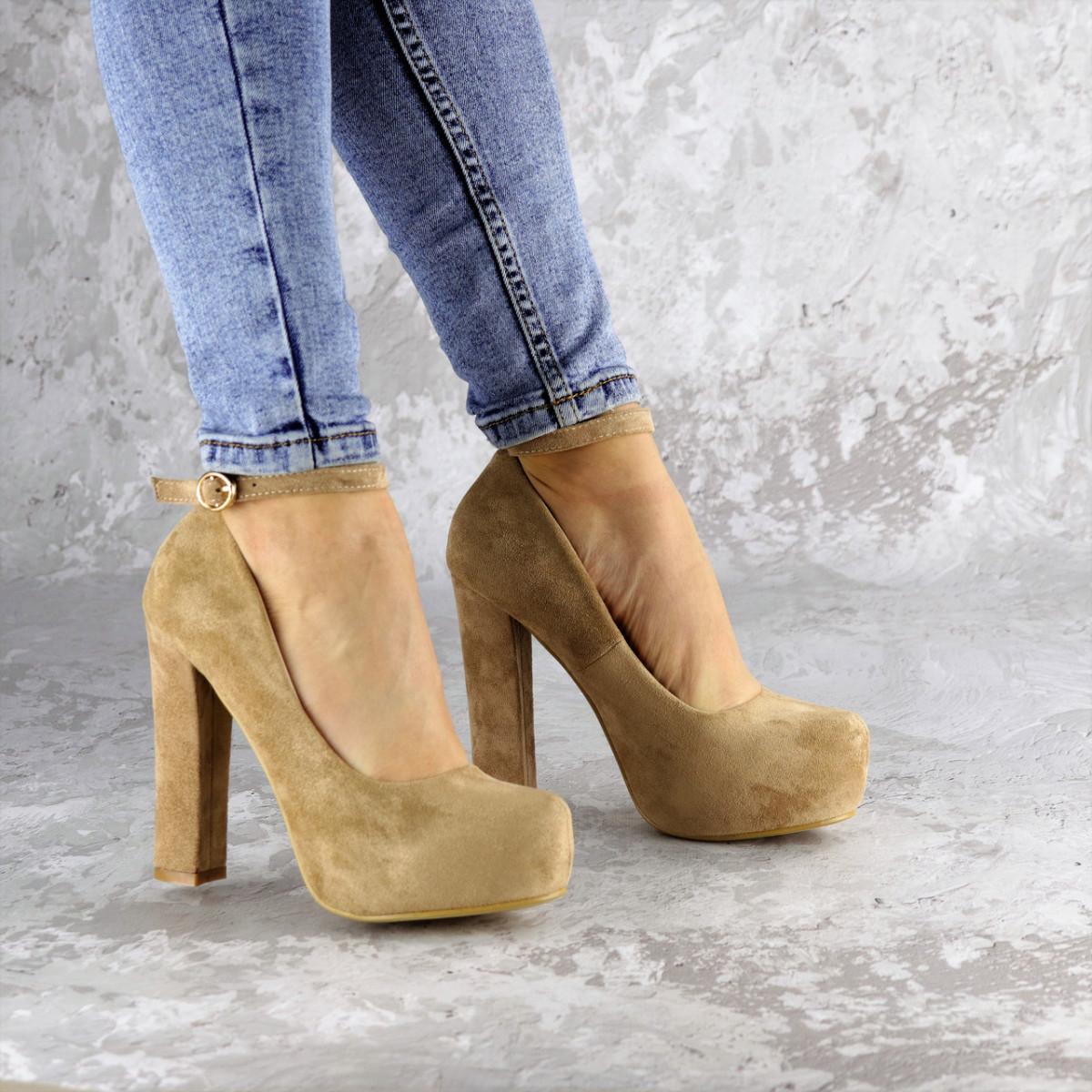 Туфли женские Rich бежевые на каблуках 1241 (38 размер)