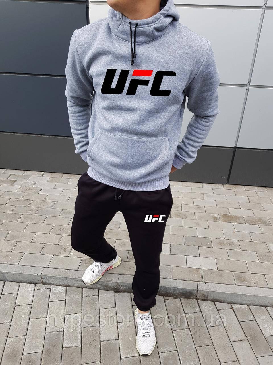 Мужской серый зимний спортивный костюм, костюм с капюшоном на флисе UFC, реплика
