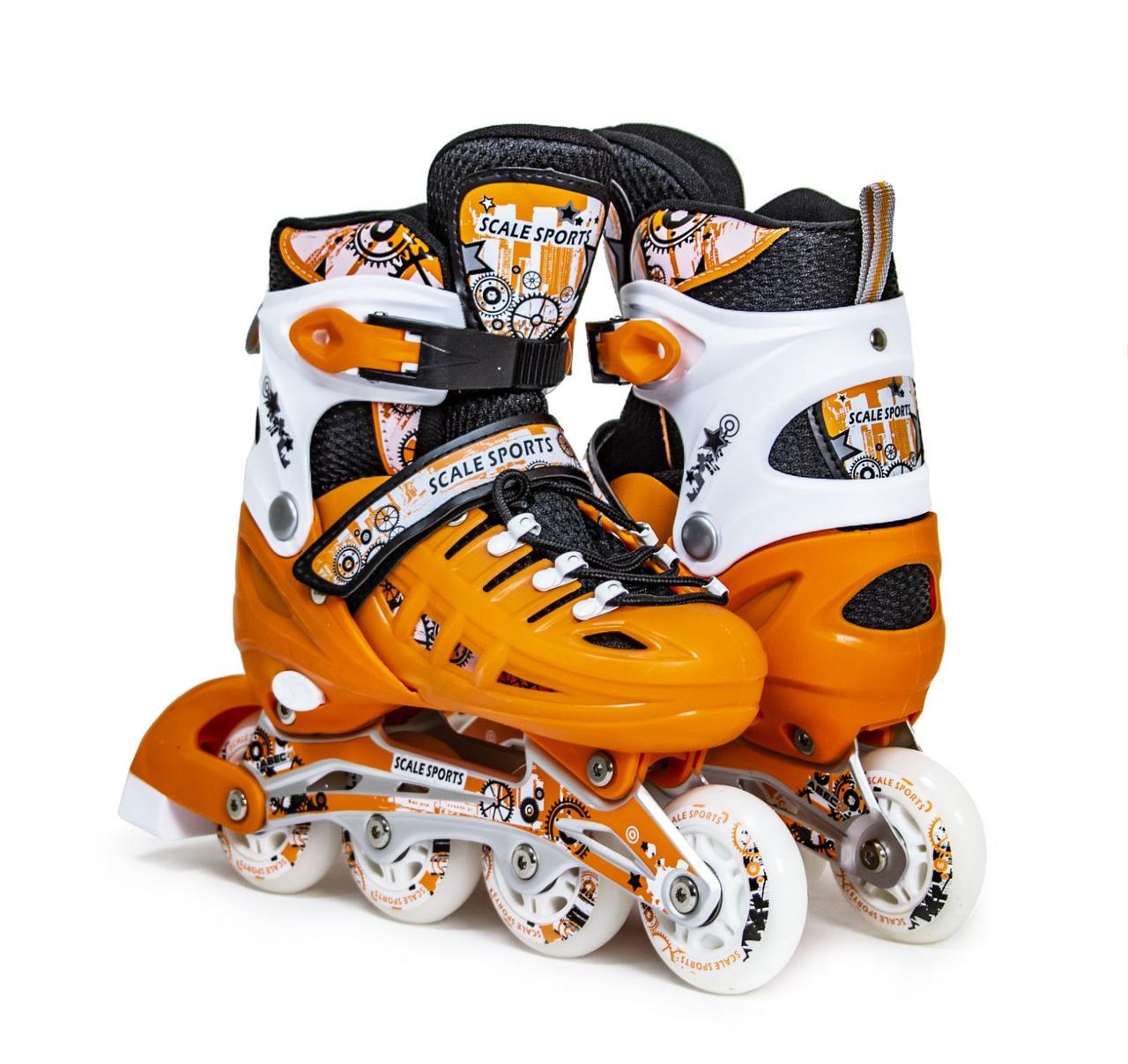 Детские Ролики Scale Sports. оранжевый цвет, размер 29-33.
