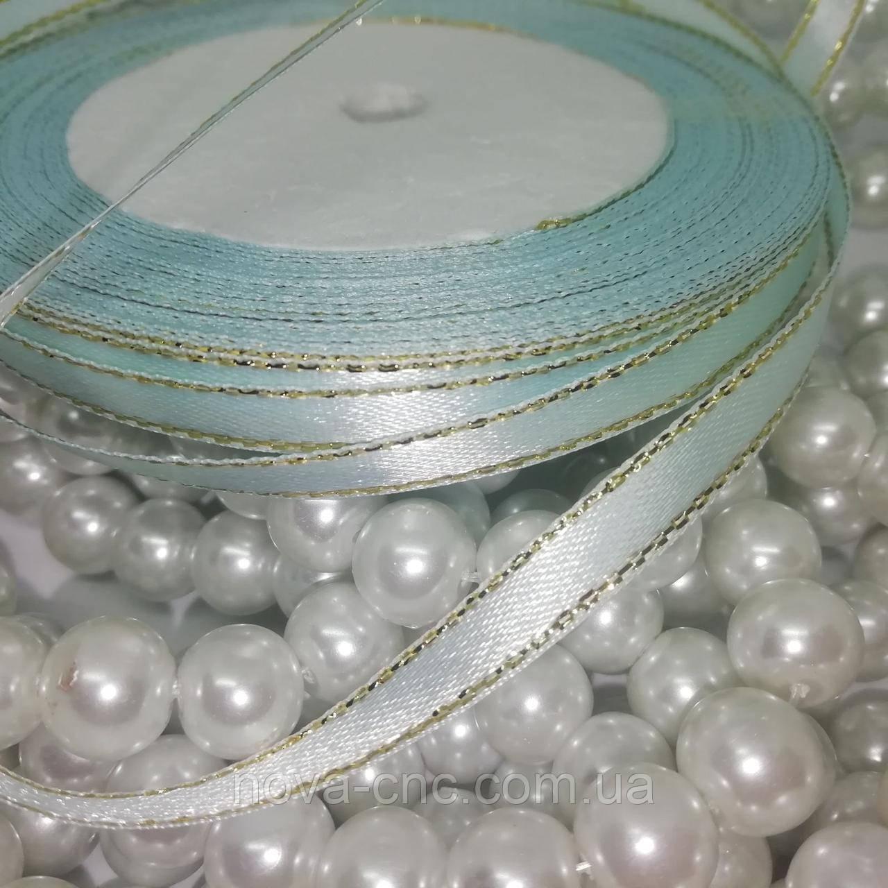 Стрічки атлас з люрексом Колір блідо-блакитний 6 мм 23 м