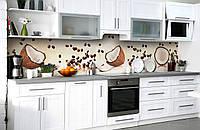 """Скинали на кухню Zatarga """"Кокосы и Кофе"""" 600х2500 мм виниловая 3Д наклейка кухонный фартук самоклеящаяся для"""
