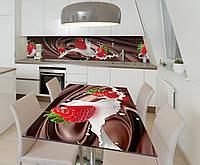 Наклейка 3Д виниловая на стол Zatarga «Клубника и Шоколад» 650х1200 мм для домов, квартир, столов, , фото 1