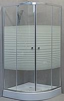 Душова кабіна StarWhite90х90 низький піддон, малюнок біла полоса, Y-6106W