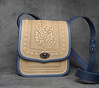 Женская кожаная сумка ручной работы (метод горячего тиснения), бежевая кожаная сумка
