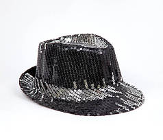Шляпа Диско с пайетками чёрно-серебряная