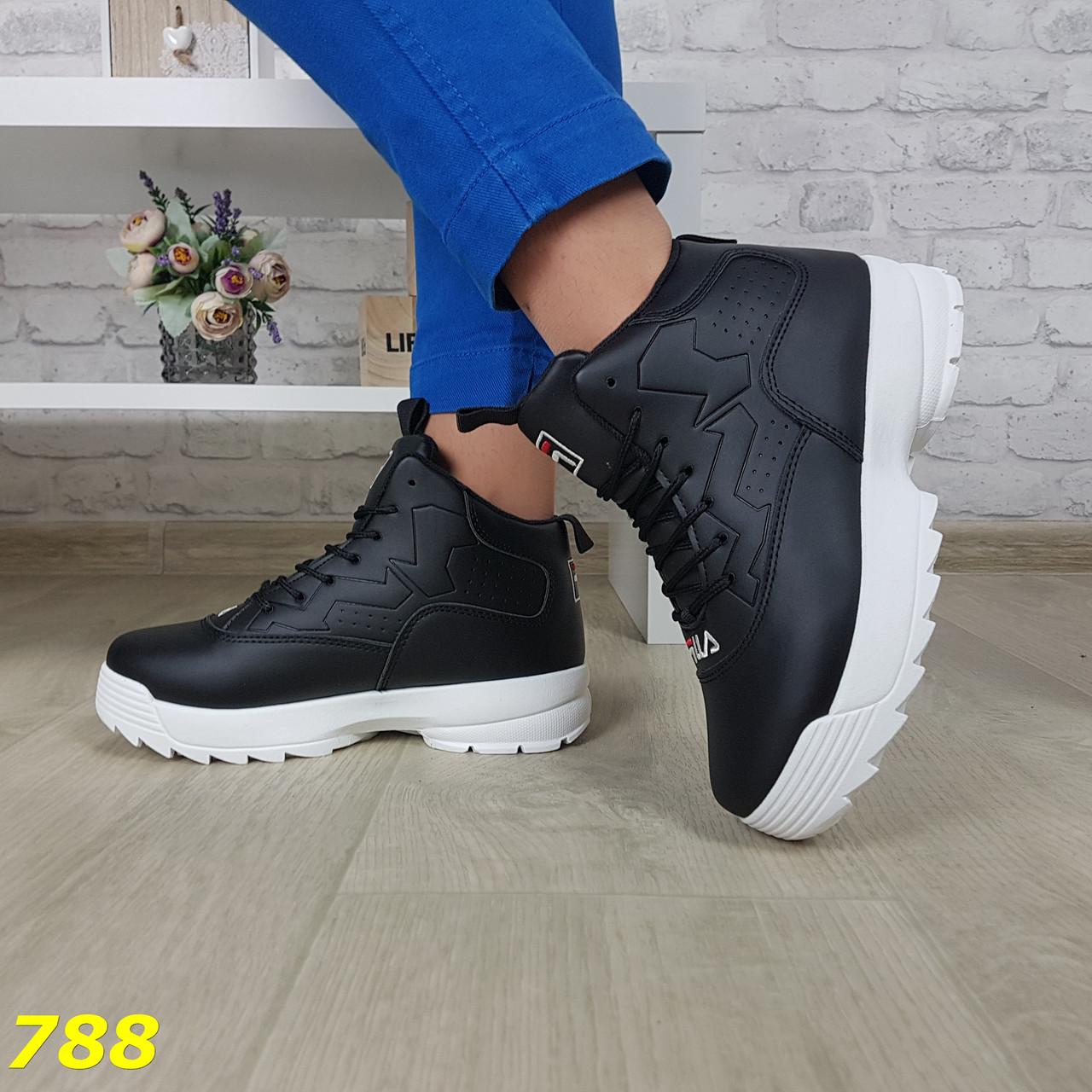 Высокие кроссовки черные на белой подошве зима