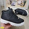 Высокие кроссовки черные на белой подошве зима, фото 7