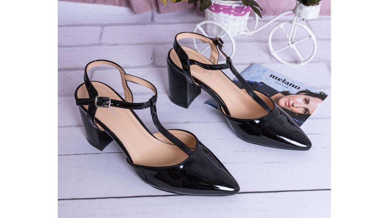 Женские босоножки на каблуке 7см лаковые черные кожаные под дрескод 36-40