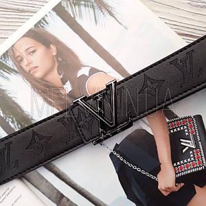 Женский кожаный ремень Louis Vuitton реплика Черный с серебристым логотипом