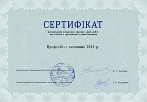 """Сертифікат """"Професійне визнання"""""""