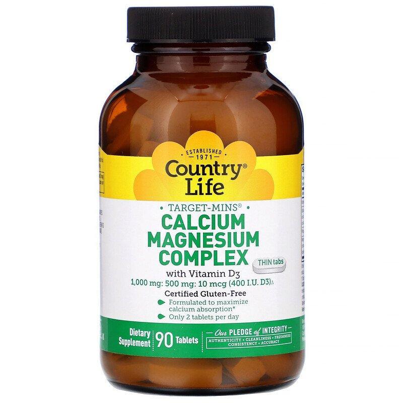 """Кальций и Магний Country Life """"Calcium Magnesium Complex with Vitamin D3"""" с витамином D3 (90 таблеток)"""