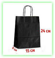 Бумажный Черный подарочный крафт пакет с кручеными ручками 150х90х240 - упаковка (25шт в уп.)