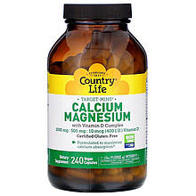 """Кальций и магний Country Life """"Calcium Magnesium with Vitamin D Complex"""" комплекс с витамином D (240 таблеток)"""