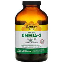 """Рыбий жир Country Life """"Оmega-3"""" 1000 мг (300 гелевых капсул)"""