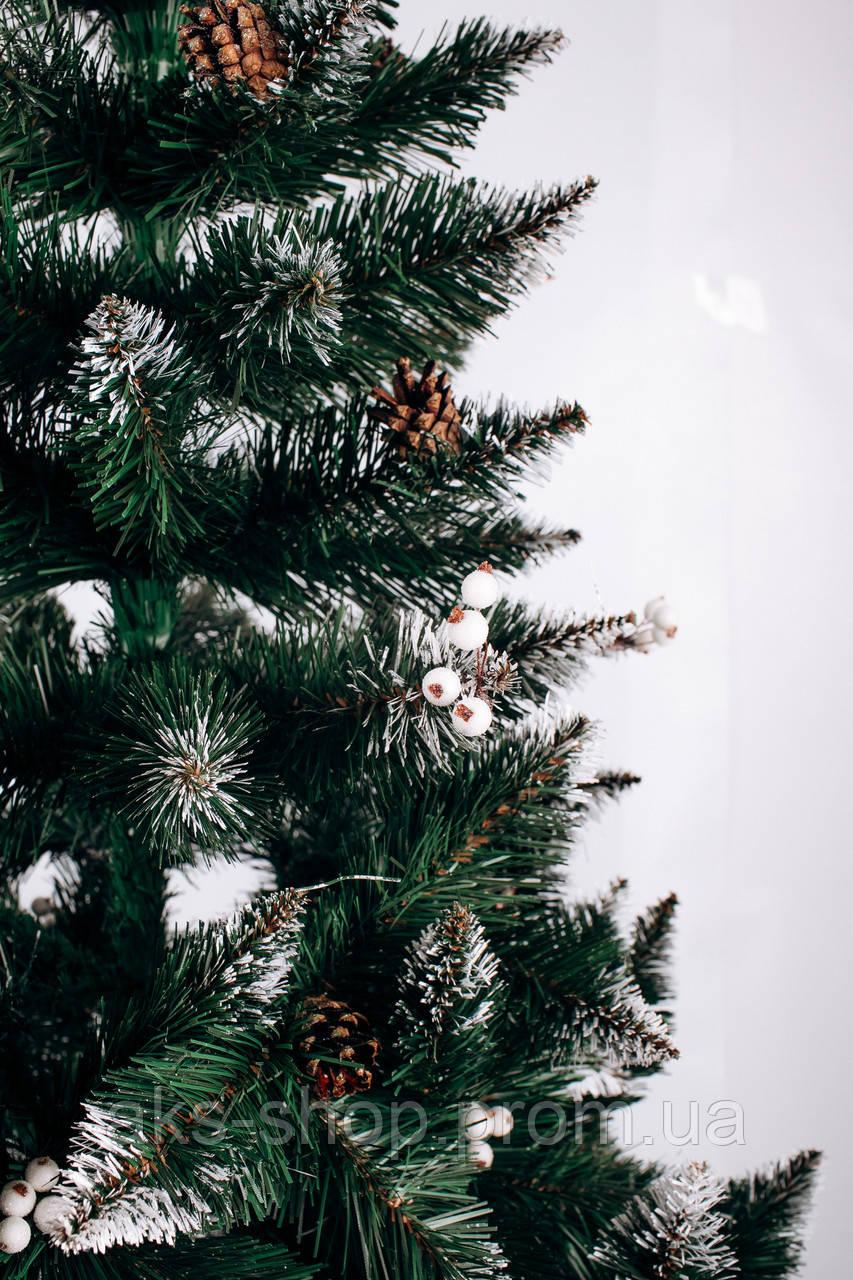 Ель искусственная  2 м Рождественская калина белая с шишками