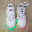 Детские кроссовки белые светящиеся с подсветкой Led 27-32р, фото 3