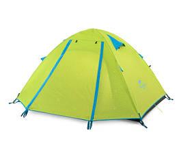 Палатка четырехместная туристическая Naturehike с алюминиевыми дугами зеленая два слоя