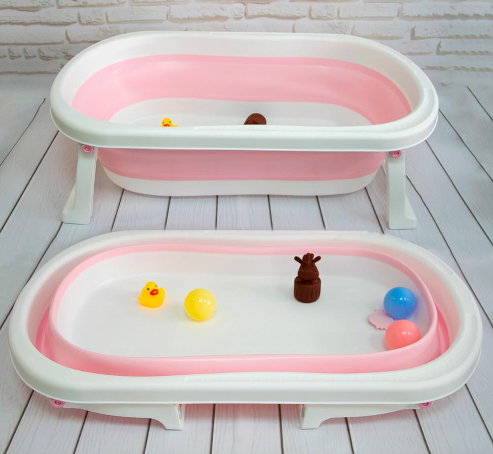 Детская складная ванночка для купания малыша розовая, силиконовая ванночка для ребенка