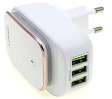 Адаптер мережевий Ldnio Micro USB Cable Touch Light A3305, 3USB, 3.4 A, білий