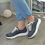 Кроссовки женские замшевые на белой подошве, на шнурках. Цвет серый, фото 7