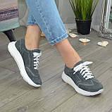 Кроссовки женские замшевые на белой подошве, на шнурках. Цвет серый, фото 8